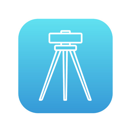 manual test equipment: Theodolite on tripod line icon for web, mobile and infographics. Vector white icon on the blue gradient square with rounded corners isolated on white background. Illustration