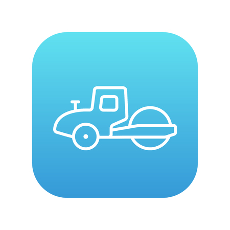 steamroller: Road roller line icon for web, mobile and infographics. Vector white icon on the blue gradient square with rounded corners isolated on white background. Illustration