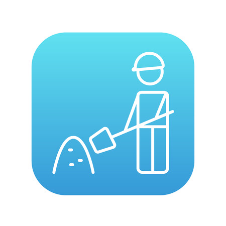 Man with shovel and hill of sand line icon for web, mobile and infographics. Vector white icon on the blue gradient square with rounded corners isolated on white background. Illusztráció