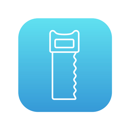 cut off saw: Saw line icon for web, mobile and infographics. Vector white icon on the blue gradient square with rounded corners isolated on white background.