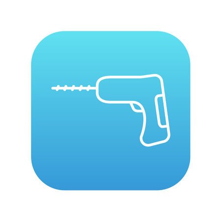 hammer drill: Hammer drill line icon for web, mobile and infographics. Vector white icon on the blue gradient square with rounded corners isolated on white background. Illustration