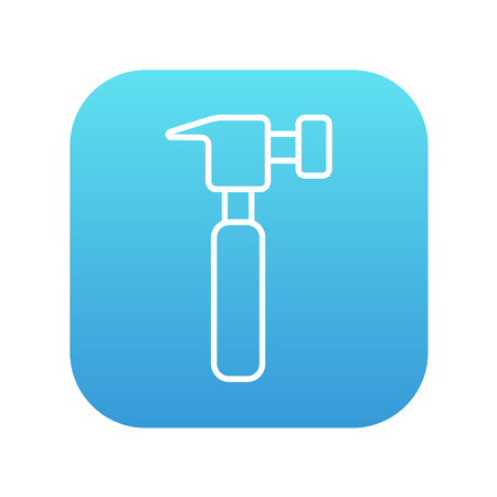 Hammer line icon for web, mobile and infographics. Vector white icon on the blue gradient square with rounded corners isolated on white background. Illustration