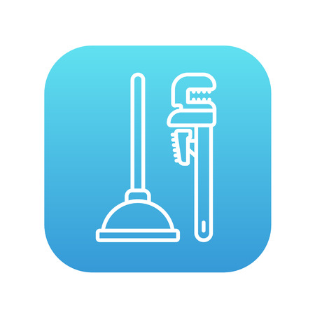 sanitary engineering: Pipe wrenches and plunger line icon for web, mobile and infographics. Vector white icon on the blue gradient square with rounded corners isolated on white background.