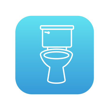 sanitaryware: Lavatory bowl line icon for web, mobile and infographics. Vector white icon on the blue gradient square with rounded corners isolated on white background.