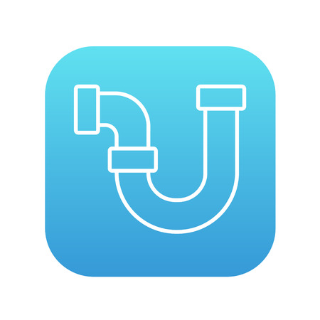 Water pipeline line icon for web, mobile and infographics. Vector white icon on the blue gradient square with rounded corners isolated on white background.