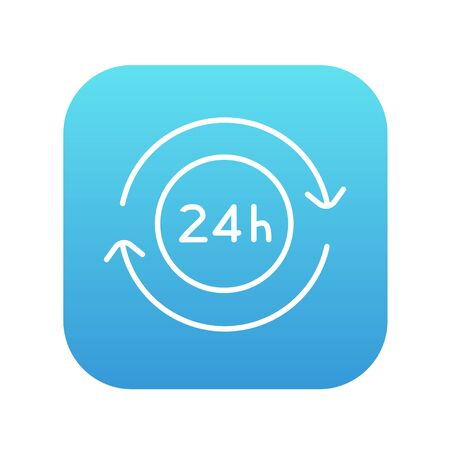 hrs: Service 24 hrs line icon for web, mobile and infographics. Vector white icon on the blue gradient square with rounded corners isolated on white background.