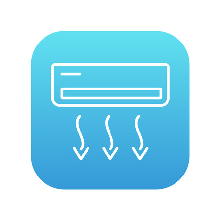 Air conditioner line icon for web, mobile and infographics. Vector white icon on the blue gradient square with rounded corners isolated on white background.