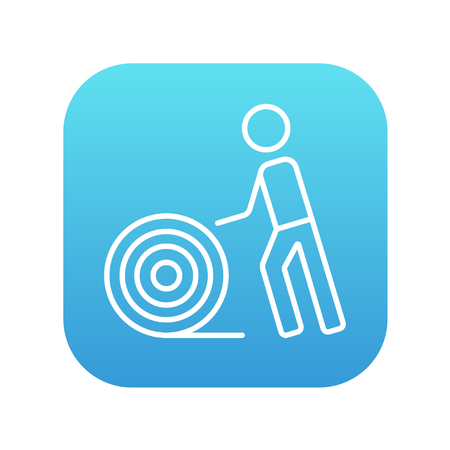 cabling: Man with wire spool line icon for web, mobile and infographics. Vector white icon on the blue gradient square with rounded corners isolated on white background.