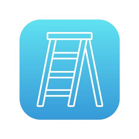 stepladder: Stepladder line icon for web, mobile and infographics. Vector white icon on the blue gradient square with rounded corners isolated on white background.
