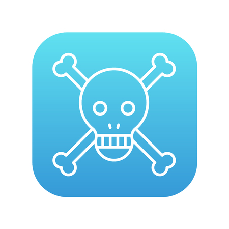 Skull and cross bones line icon for web, mobile and infographics. Vector white icon on the blue gradient square with rounded corners isolated on white background. Ilustração
