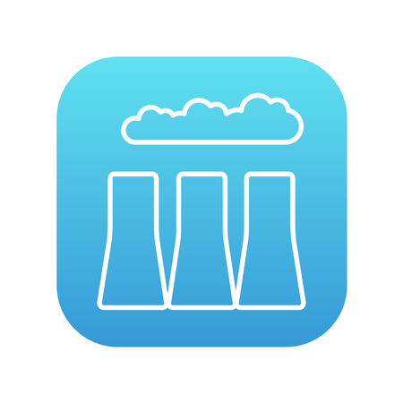 distill: Factory pipes line icon for web, mobile and infographics. Vector white icon on the blue gradient square with rounded corners isolated on white background.