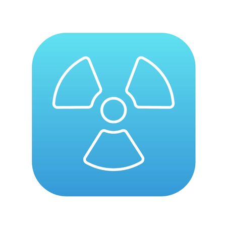 ionizing radiation risk: Ionizing radiation sign line icon for web, mobile and infographics. Vector white icon on the blue gradient square with rounded corners isolated on white background.