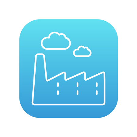 distill: Factory line icon for web, mobile and infographics. Vector white icon on the blue gradient square with rounded corners isolated on white background.