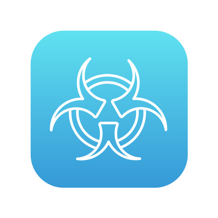 pandemia: Bio hazard sign line icon for web, mobile and infographics. Vector white icon on the blue gradient square with rounded corners isolated on white background.