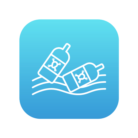 harmful to the environment: Bottles floating in the water line icon for web, mobile and infographics. Vector white icon on the blue gradient square with rounded corners isolated on white background. Illustration