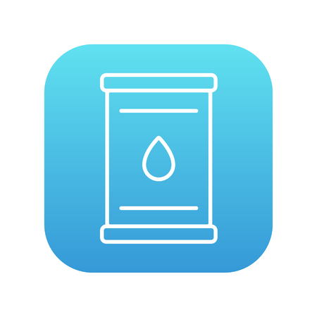 petroleum blue: Oil barrel line icon for web, mobile and infographics. Vector white icon on the blue gradient square with rounded corners isolated on white background.