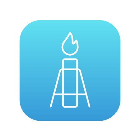 flue: Gas flare line icon for web, mobile and infographics. Vector white icon on the blue gradient square with rounded corners isolated on white background. Illustration