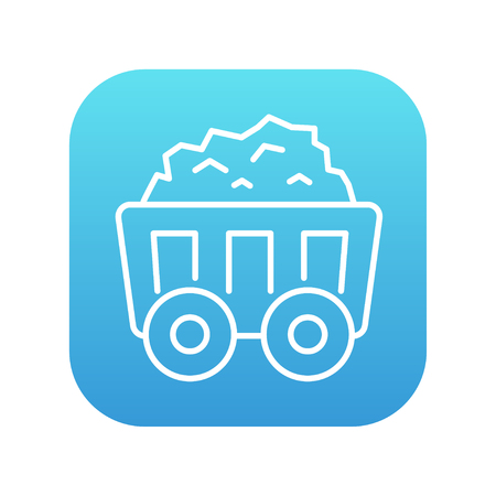 Mining coal cart line icon for web, mobile and infographics. Vector white icon on the blue gradient square with rounded corners isolated on white background. Illustration