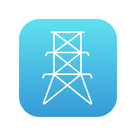powerlines: Electric tower line icon for web, mobile and infographics. Vector white icon on the blue gradient square with rounded corners isolated on white background.