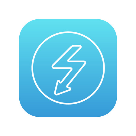 lightning arrow: Lightning arrow going down inside circle line icon for web, mobile and infographics. Vector white icon on the blue gradient square with rounded corners isolated on white background.