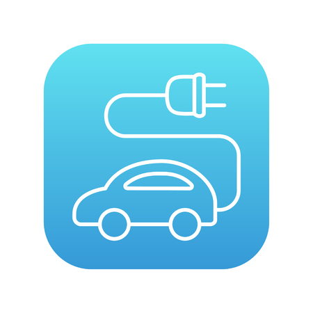 clean energy: Electric car line icon for web, mobile and infographics. Vector white icon on the blue gradient square with rounded corners isolated on white background.