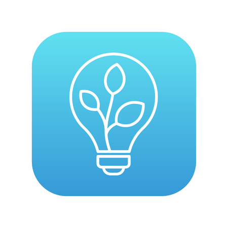 clean energy: Lightbulb and plant inside line icon for web, mobile and infographics. Vector white icon on the blue gradient square with rounded corners isolated on white background.