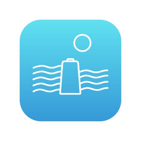 Sol y las ondas de agua con el icono de línea de la batería para web, móvil y la infografía. Vector icono de blanco en la plaza del gradiente de color azul con esquinas redondeadas aisladas sobre fondo blanco. Foto de archivo - 49690520