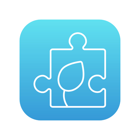 puzzle corners: Puzzle with leaf line icon for web, mobile and infographics. Vector white icon on the blue gradient square with rounded corners isolated on white background.