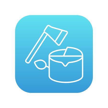 logging: Deforestation line icon for web, mobile and infographics. Vector white icon on the blue gradient square with rounded corners isolated on white background. Illustration