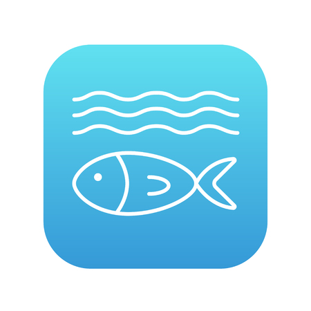 blue fish: Fish under water line icon for web, mobile and infographics. Vector white icon on the blue gradient square with rounded corners isolated on white background. Illustration