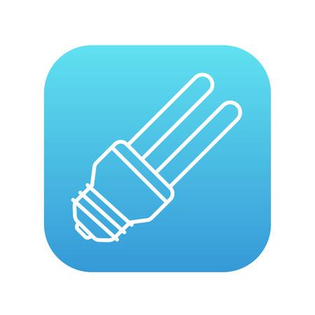 bombillo ahorrador: El ahorro de energ�a icono de la l�nea bombilla para web, m�vil y la infograf�a. Vector icono de blanco en la plaza del gradiente de color azul con esquinas redondeadas aisladas sobre fondo blanco. Vectores