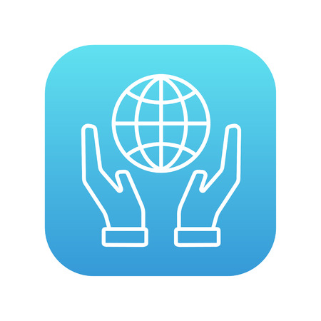 hands holding globe: Two hands holding globe line icon for web, mobile and infographics. Vector white icon on the blue gradient square with rounded corners isolated on white background. Illustration