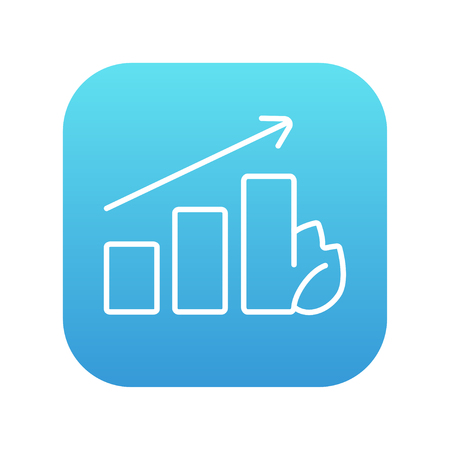 Bar graph with leaf line icon for web, mobile and infographics. Vector white icon on the blue gradient square with rounded corners isolated on white background.  イラスト・ベクター素材