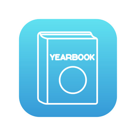 yearbook: Yearbook line icon for web, mobile and infographics. Vector white icon on the blue gradient square with rounded corners isolated on white background.