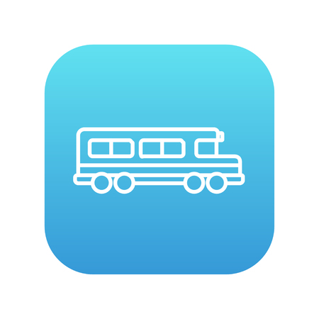 people icon: School bus line icon for web, mobile and infographics. Vector white icon on the blue gradient square with rounded corners isolated on white background. Illustration