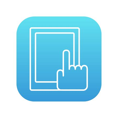 Finger pointing at tablet line icon for web, mobile and infographics. Vector white icon on the blue gradient square with rounded corners isolated on white background.