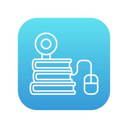 elearn: Computer mouse connected to a stack of books with webcam on it line icon for web, mobile and infographics. Vector white icon on the blue gradient square with rounded corners isolated on white background. Illustration