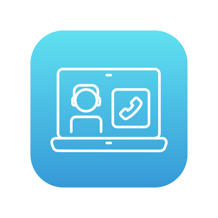 reciever: Laptop with a man in headphones on a screen for web, mobile and infographics. Vector white icon on the blue gradient square with rounded corners isolated on white background.