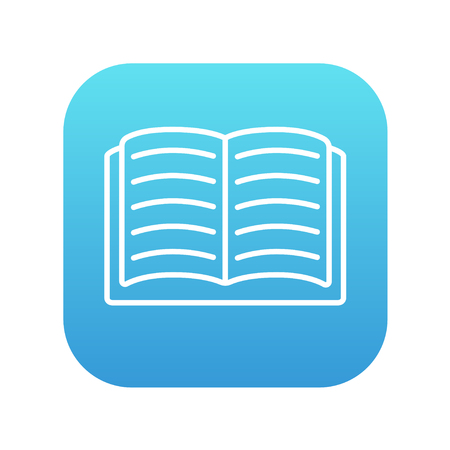 classbook: Open book line icon for web, mobile and infographics. Vector white icon on the blue gradient square with rounded corners isolated on white background.