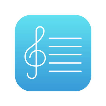 people icon: Treble clef line icon for web, mobile and infographics. Vector white icon on the blue gradient square with rounded corners isolated on white background. Illustration