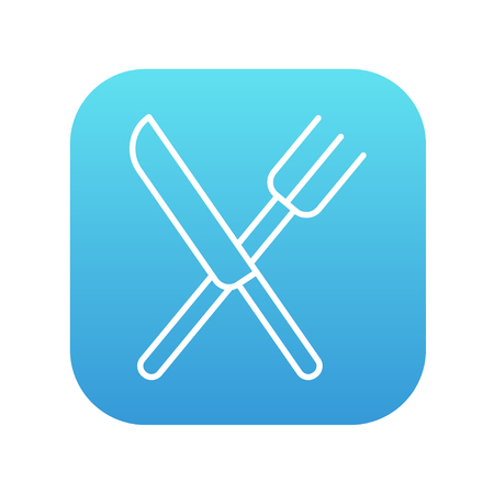 meat chopper: Crossed  knife and fork line icon for web, mobile and infographics. Vector white icon on the blue gradient square with rounded corners isolated on white background.