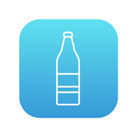 Glass bottle line icon for web, mobile and infographics. Vector white icon on the blue gradient square with rounded corners isolated on white background. 向量圖像