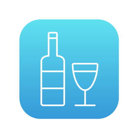 scotch: Bottle of wine line icon for web, mobile and infographics. Vector white icon on the blue gradient square with rounded corners isolated on white background. Illustration