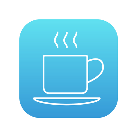 teaparty: Cup of hot drink line icon for web, mobile and infographics. Vector white icon on the blue gradient square with rounded corners isolated on white background. Illustration
