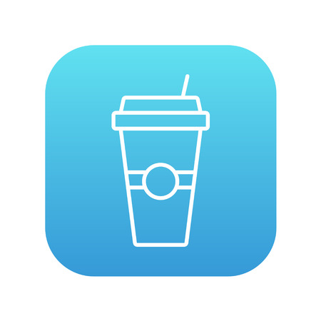 Disposable cup with drinking straw line icon for web, mobile and infographics. Vector white icon on the blue gradient square with rounded corners isolated on white background. Ilustração