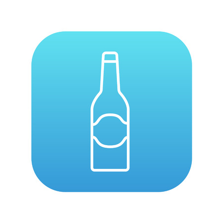 scotch: Glass bottle line icon for web, mobile and infographics. Vector white icon on the blue gradient square with rounded corners isolated on white background. Illustration