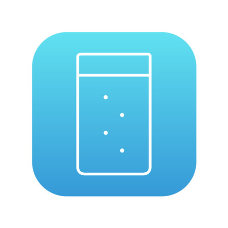 Glass of water line icon for web, mobile and infographics. Vector white icon on the blue gradient square with rounded corners isolated on white background.