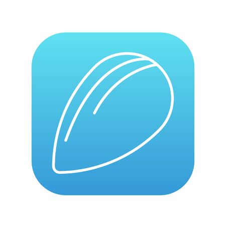 Almond line icon for web, mobile and infographics. Vector white icon on the blue gradient square with rounded corners isolated on white background.