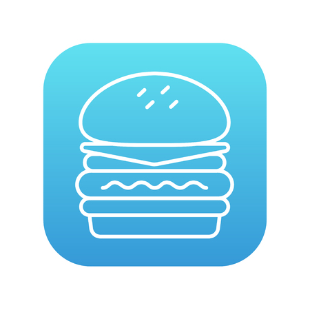 Double burger line icon for web, mobile and infographics. Vector white icon on the blue gradient square with rounded corners isolated on white background.