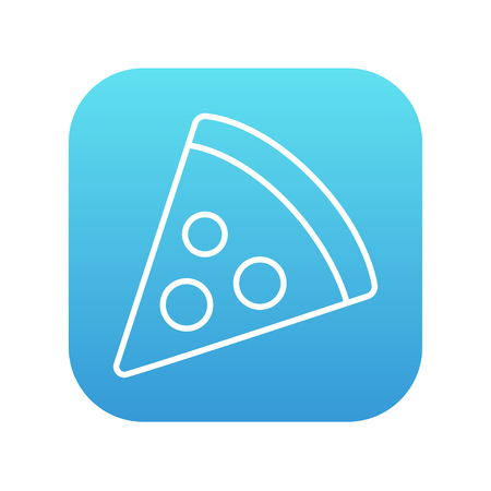 Pizza slice line icon for web, mobile and infographics. Vector white icon on the blue gradient square with rounded corners isolated on white background.